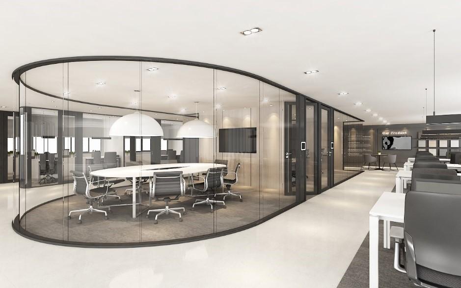 استفاده از شیشه و دیوار های منحنی شیشه ای در ساختمان های اداری و تجاری